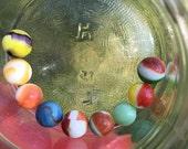 SALE 30 Vintage Lot 9 Akro Agate Toy Art Glass Marbles Spiderman Turkey Head Glow Ketchup Mustard Swirl Peach Bumble Bee Fire King Peltier