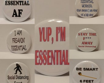 Essential Worker Button, Social Distancing Button, Big Foot Button, Badge, Pinback button, discounted shipping. Free ship over 35