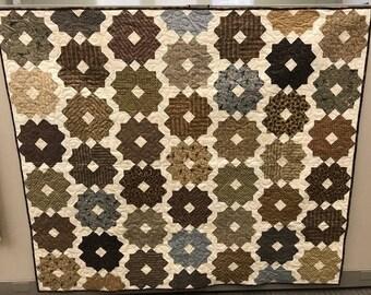 Brown Flower Stars Quilt