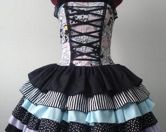 One Of A Kind Comic Book Print Ruffled Dress