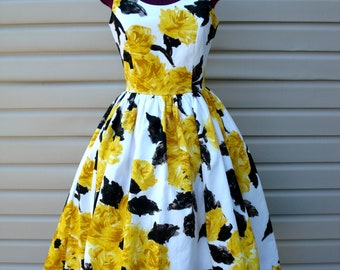Yellow Roses Rockabilly Dress