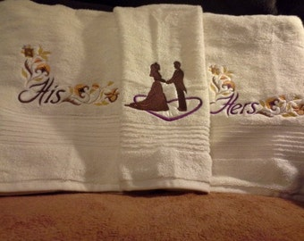 His and Hers Embroidered Towels set   You choose colors