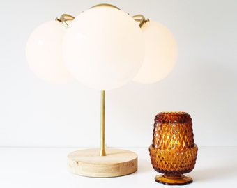 Modern Brass Table Lamp, Industrial Home Decor, 3 White Glass Globe Shades, Wooden Base