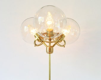 Modern Brass Table Lamp, 3 Clear Glass Globes, Industrial Brass and Wood Desk Lamp, BootsNGus Lighting and Home Decor