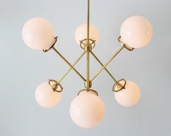 Modern Brass Chandelier, 6 White Glass Globes, Industrial Art Lighting, BootsNGus Lighting and Home Decor