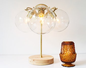 Modern Brass Table Lamp, Industrial Home Decor, 3 Clear Glass Globe Shades, Wooden Base