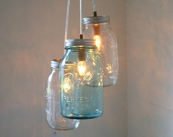 Glass jar pendant light Bronze Pendant Mason Jar Chandelier Mason Jar Pendant Lighting Fixture Clear And Blue Jars Rustic Hanging Mason Jar Lighting Pendants Bulbs Included Etsy Mason Jar Lighting Etsy