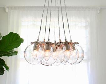 Bubble Chandelier, 7 Clear Glass Globe Pendants, Modern Ceiling Mount Lighting Fixture, Free Shipping