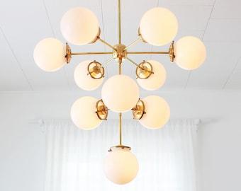 Globe chandelier etsy 3 tiered globe chandelier 10 white glass bubble globe pendant lighting fixture modern sputnik brass statement chandelier by bootsngus aloadofball Images
