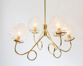 Brass Chandelier, 4 Fluted Arms, Glass Acorn Globe Shades, Modern Hanging Lighting Pendant Fixture