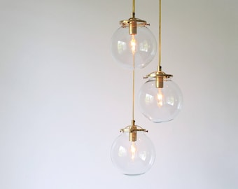 Bubble Chandelier, Spiral Globe Pendant Lamp, 3 Hanging Clear Glass Globe Shades