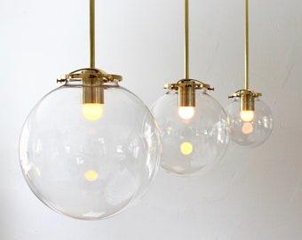 "Bubble Pendant Light, 8"" Clear Glass Globe Shade, Brass Finish, Single Mid Century Modern Hanging Pendant Lighting Fixture"