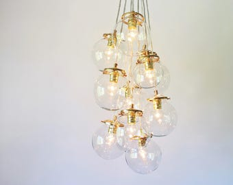 Globe Bubble Chandelier Lighting Fixture, 10 Hanging Clear Glass Orb Clustered Pendants, Modern BootsNGus Lighting & Home Decor