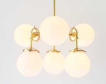 Modern Brass Chandelier Lighting Fixture, 6 White Glass Globes, BootsNGus Lighting and Home Decor