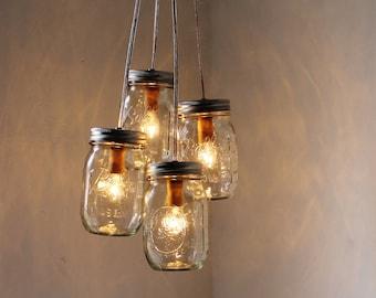 Mason Jar Chandelier, 4 Clustered Jars, Mason Jar Pendant Lighting Fixture, Rustic Upcycled Mason Jar Lights, Bulbs Included, Free Shipping