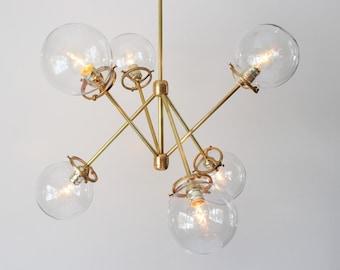 Modern Brass Chandelier, 6 Clear Glass Globes, Industrial Art Lighting, BootsNGus Lighting and Home Decor