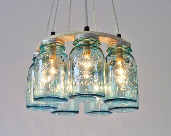 Mason jar chandelier large rustic mason jar pendant lamp etsy mason jar chandelier 7 antique aqua blue quart ball brand jars rustic hanging pendant lighting fixture bulbs included free shipping aloadofball Image collections