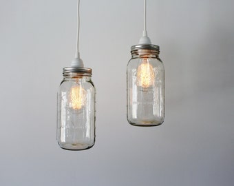 Sea glass mason jar pendant lights set of 2 hanging antique mason jar pendant lights 2 clear half gallon mason jar hanging pendant lighting fixtures upcycled industrial bootsngus lamps decor mozeypictures Images