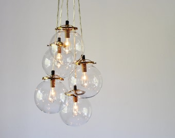 Globe Chandelier Lighting Fixture, 5 Hanging Clear Glass Bubble Clustered Pendant Lights, Modern BootsNGus Lighting