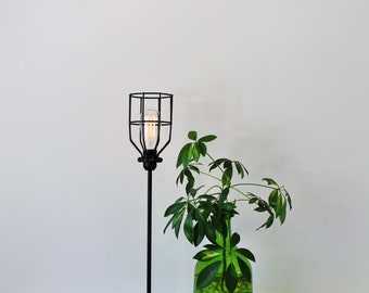 Cage lamp etsy basic black wire cage table lamp vintage style rustic minimalist desk light industrial bootsngus modern home office lighting and decor greentooth Choice Image