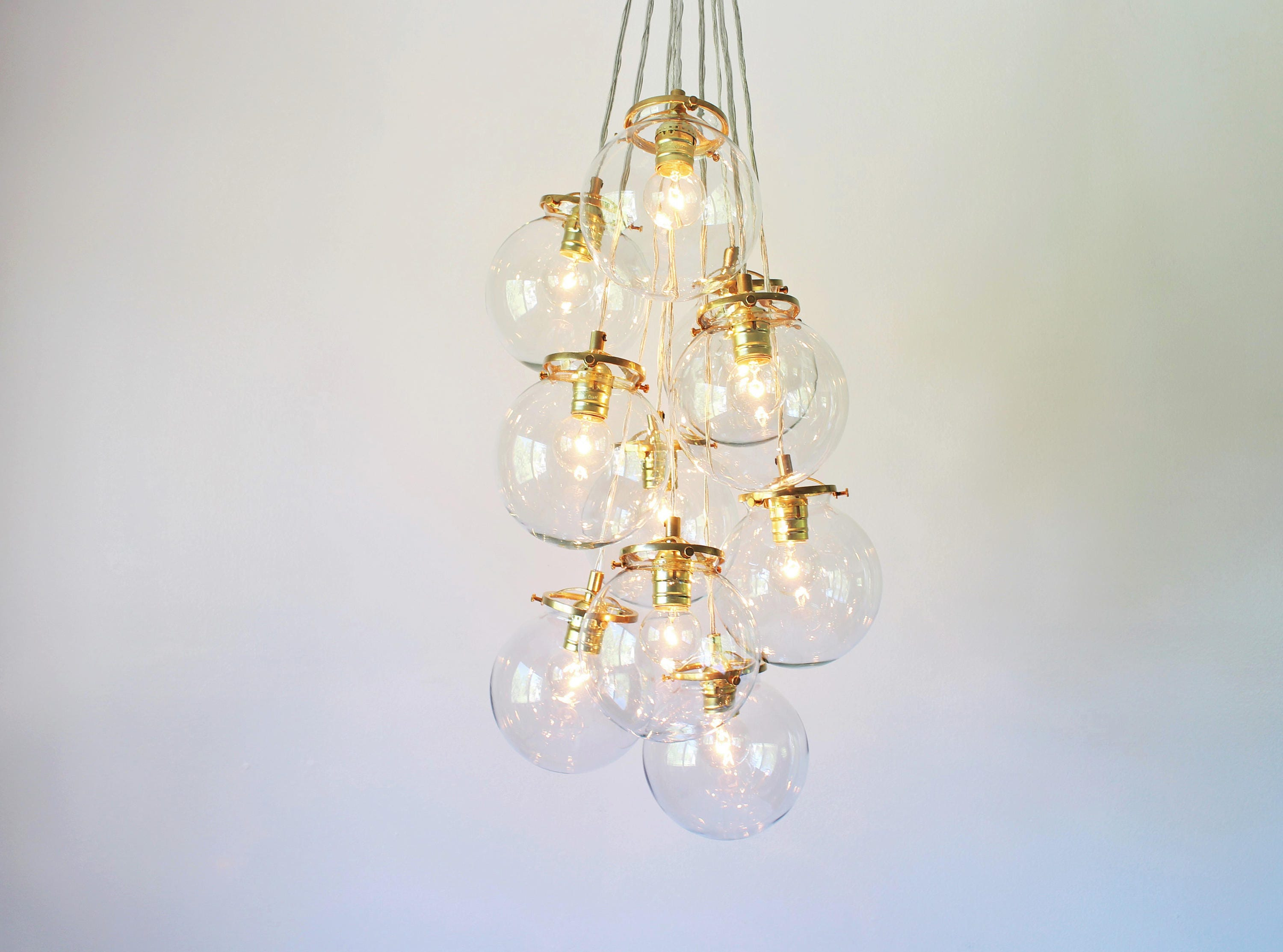 Globe bubble chandelier lighting fixture 10 hanging clear glass orb clustered pendants modern bootsngus lighting home decor