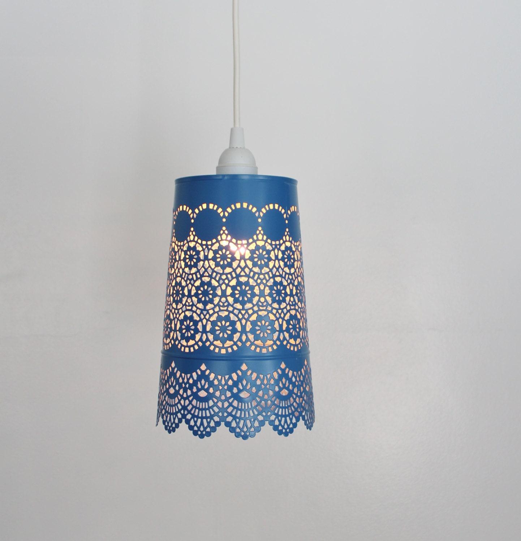 Denim BLUE Lace Pendant Lamp UpCycled Hanging Lighting | Etsy
