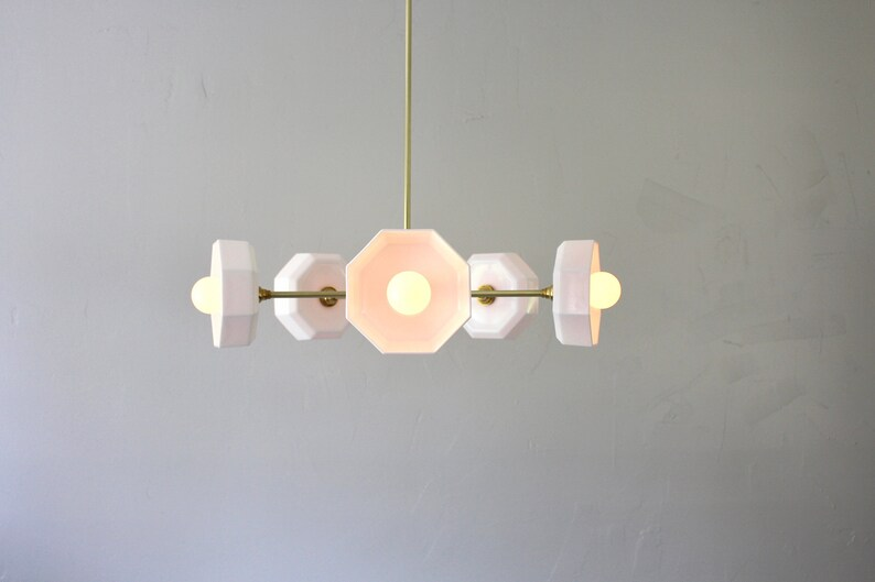 Sputnik Chandelier Geometric Brass Pendant Light 5 Vintage White Milk Glass Arcopal Octagon Bowl Shades One Of A Kind Lighting Fixture
