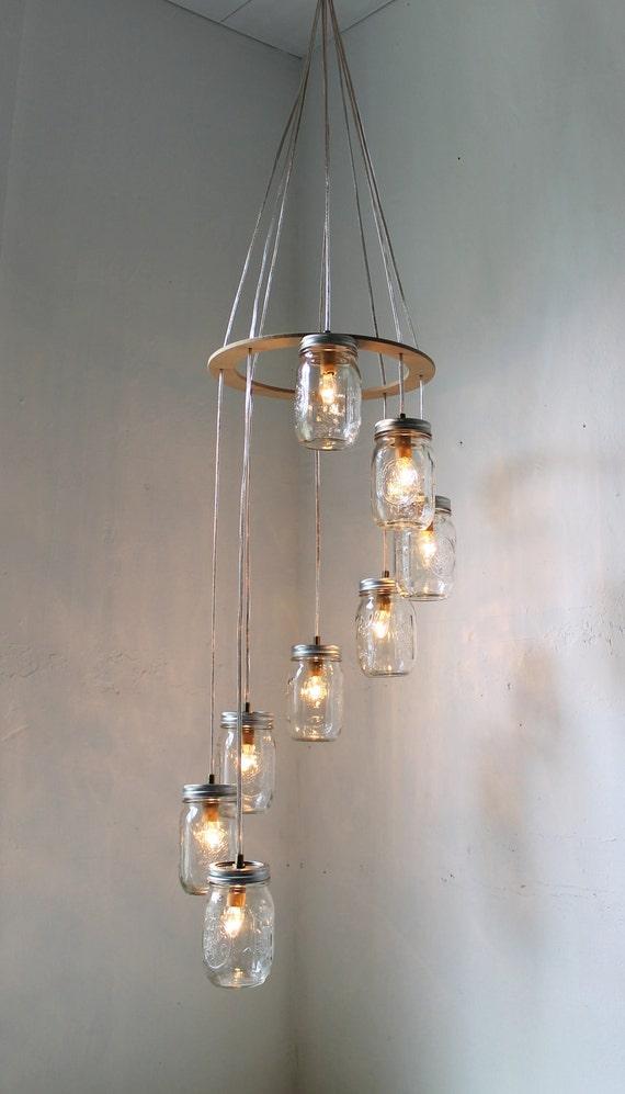 Spiral Mason Jar Chandelier Rustic Hanging Pendant