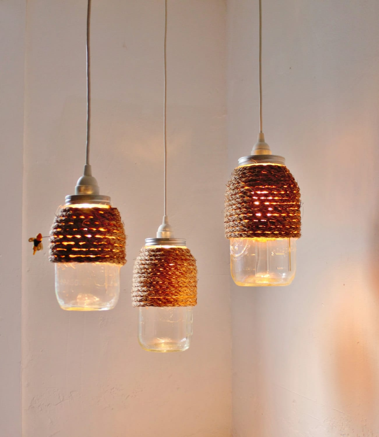 The hive mason jar pendant lights set of 3 hanging lighting etsy