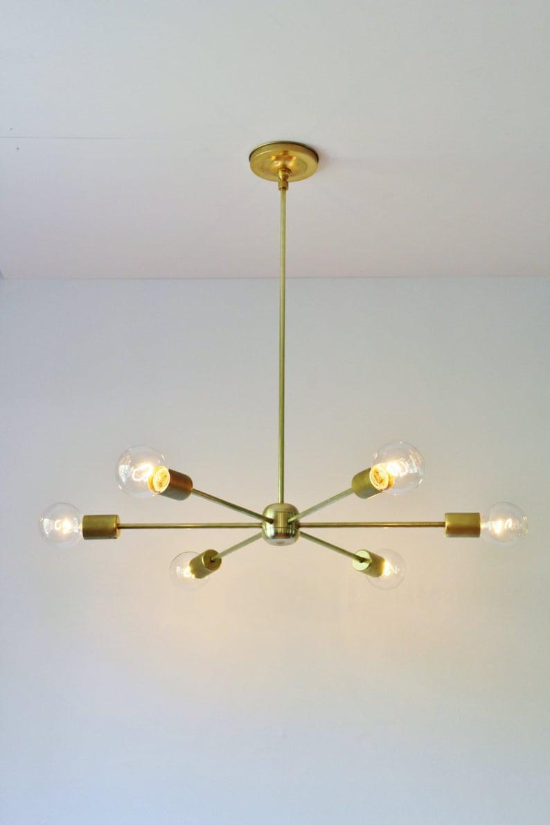 Moderno Metà Lampadario IlluminazioneaEtsy Sputnik Secolo Ottone fv6YIb7gy