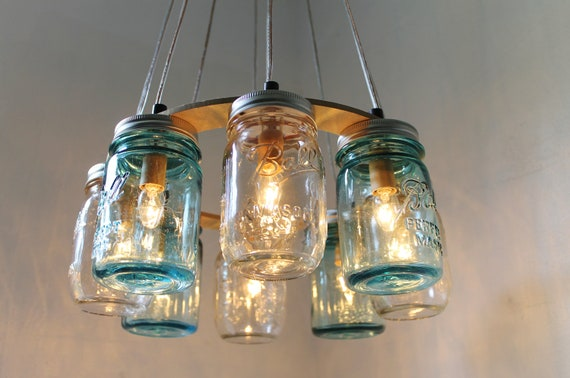 huge discount 5cce4 7f3d4 Mason Jar Chandelier, Beach House Mason Jar Lighting Fixture, Blue and  Clear Jars, Hanging Pendant Light, BootsNGus Lighting, Bulbs Included