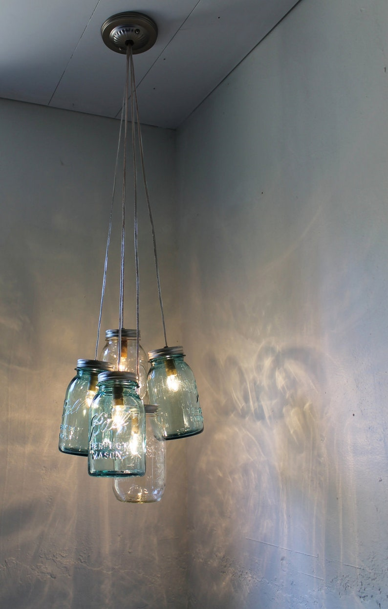 Mason Jar Chandelier Lighting Fixture Hanging Mason Jar Etsy