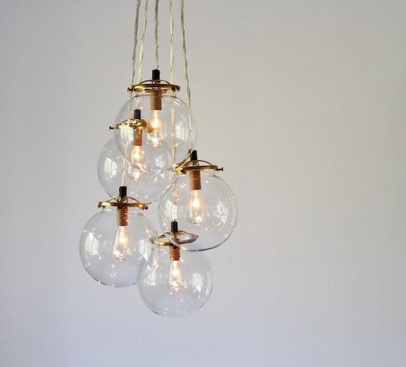 Globe chandelier lighting fixture 5 hanging clear glass etsy image 0 aloadofball Images