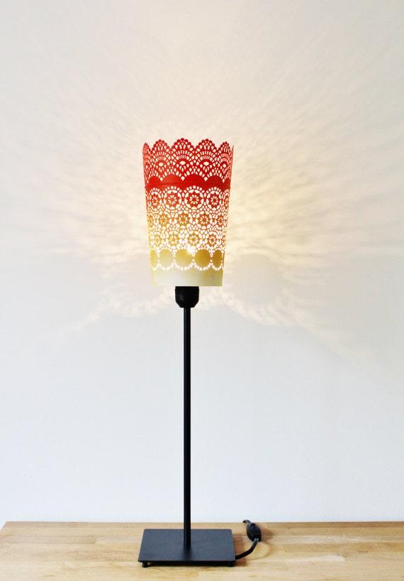 Ombre Table Lamp Black Metal Base Red Orange Yellow Metal Etsy
