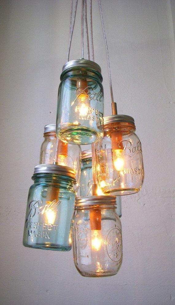 Sapphire ocean mason jar chandelier mason jar light modern etsy image 0 aloadofball Choice Image