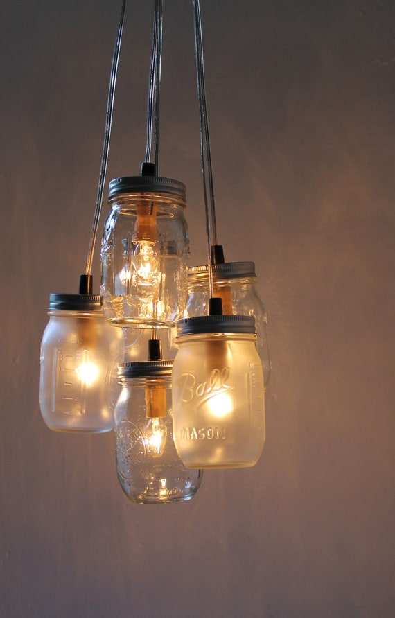 Wonderlijk Mason Jar Chandelier Hanging Mason Jar Lighting Fixture | Etsy UG-92