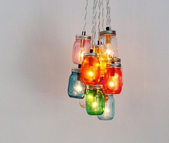 Mason jar chandelier cluster upcycled hanging chandelier etsy aloadofball Gallery