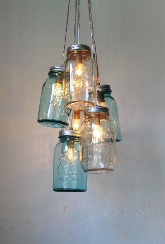 Ocean sapphire mason jar chandelier mason jar light modern etsy image 0 aloadofball Choice Image