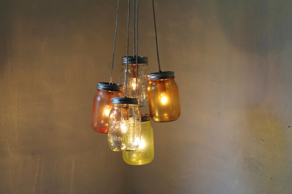 Mason Jar Chandelier, Hanging Mason Jar Pendant Lighting Fixture, Ring With 7 Clear Quart Jars, Bulbs Included, Free Shipping