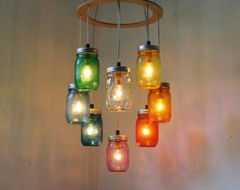 Rainbow Heart-Shaped Mason Jar Chandelier, Rustic Hanging Ceiling Mount Pendant Lighting Fixture by BootsNGus, Bulbs Included, Free Shipping