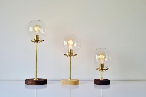 Globe lampe de table industriel en laiton et bois lampe de bureau