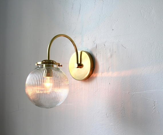 Wall Sconce Lamp, Mid Century Modern Brass Wall Mounted Lighting Fixture, Clear Ribbed Glass Bubble Globe Lamp, Vanity Light, Free Shipping by Etsy