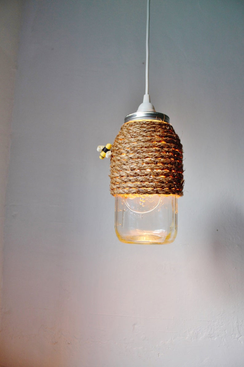 The Hive Mason Jar Pendant Lamp Hanging Lighting Fixture With image 0