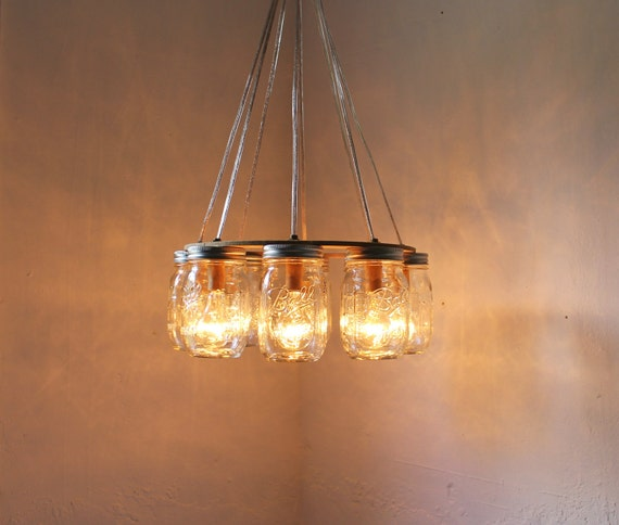 WAGON WHEEL Mason Jar Chandelier Upcycled Handcrafted