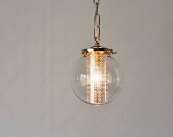 Globe Pendant Light, Modern Hanging Pendant Lamp, Clear Glass Globe Shade, Silver Chain and Shade Insert
