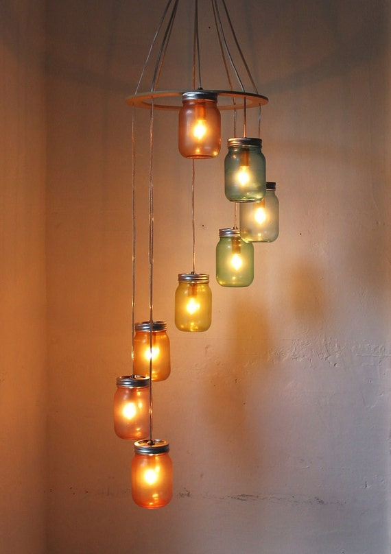 Rainbow bright mason jar chandelier mason jar lighting etsy image 0 aloadofball Choice Image