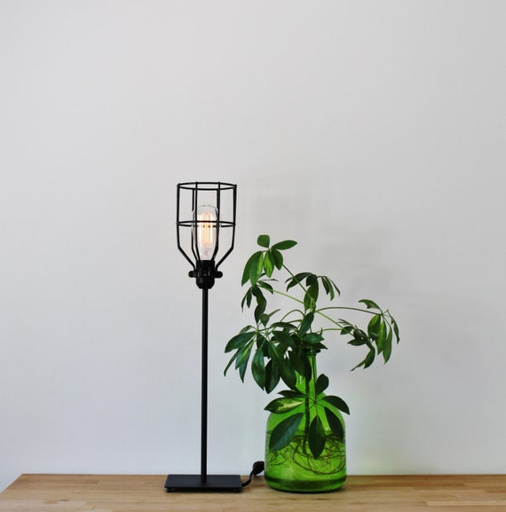 Basic Black Wire Cage Table Lamp Vintage Style Rustic Etsy