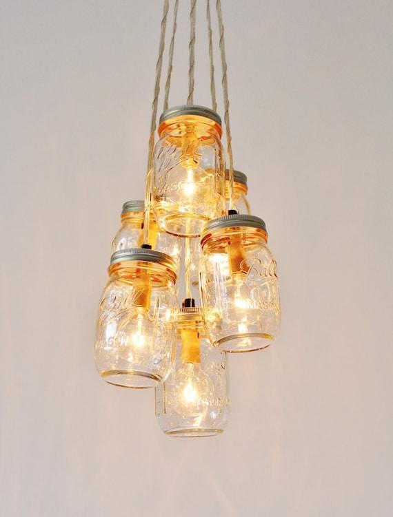 Mason jar cluster chandelier 6 clear mason jars hanging etsy image 0 aloadofball Images