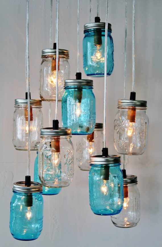 6 Clustered Clear and Antique Aqua Blue Jars Mason Jar Chandelier Handcrafted Rustic Hanging Lighting Fixture BootsNGus Lights /& Decor
