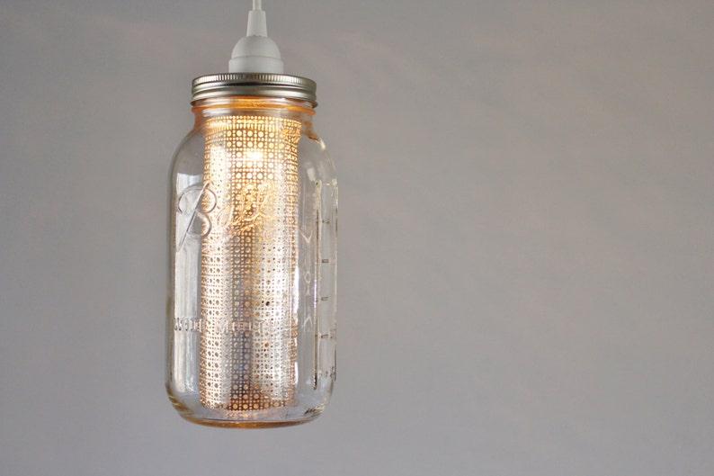 Half Gallon Jar With Silver Metal Shade Hanging Pendant Lamp BootsNGus Mason Jar Lighting Fixture Mason Jar Pendant Light